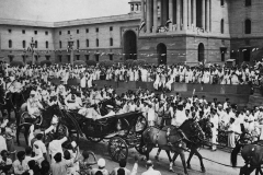 The ceremonial buggy ride from Rashtrapati Bhawan to the Parliament House. Lord Mountbatten, after he was sworn in as Governor-General on the morning of August 15th, 1947. This photograph was taken at Vijay Chowk