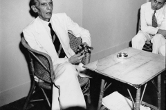 Mohammad Ali Jinnah at his last press conference before leaving for Pakistan. Delhi, August 1947