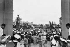 Lord Mountbatten among jubilant crowds outside the Parliament House, Delhi on August 15th, 1947