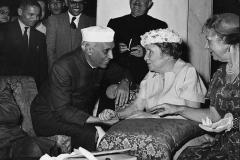 Jawaharlal Nehru in conversation with Helen Keller, the famous American writer at Rashtrapati Bhawan. Delhi