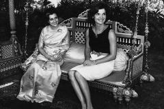 Jackie Kennedy and Indira Gandhi at Teen Murti House, 1962