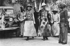 The Dalai Lama and the Panchen Lama walking across the border into India. Sikkim, 1956