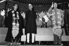 The Chinese premier Chou En-lai, Prime Minister Nehru and the Dalai Lama during the celebrations to mark two thousand five hundred years of Buddhism. Delhi 1956