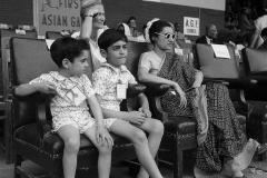 Indira Gandhi with Rajiv and Sanjay at the first Asian Games at the National Stadium. Delhi, 1951