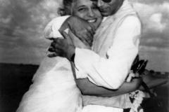 A brother embracing his sister. Palam airport, Delhi. 1954.